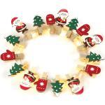 ACA Lighting LED dekorační girlanda - Kolíčky s vánočními motivy, teplá bílá barva, 3xAA, 180 cm