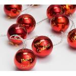 ACA Lighting LED vánoční girlanda - kuličky červené, teplá bílá, 3x baterie AA, 160 cm, IP20