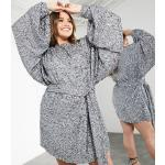ASOS EDITION Curve mixed sequin mini dress with oversized blouson sleeve in silver
