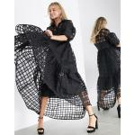 ASOS EDITION oversized shirt dress in organza check in black