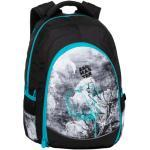 Bagmaster Studentský batoh se skrytou kapsou na zádech, BAGMASTER DIGITAL 20 B TURQUOISE/GRAY/BLACK, pro dívky, květiny, jemný motiv
