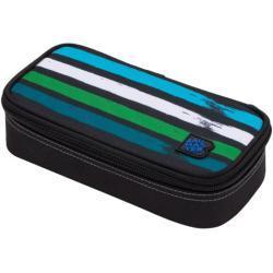 Bagmaster Studentský penál BAGMASTER CASE BAG 20 C BLUE/GREEN/BLACK/WHITE, pruhy, proužky, stylový penál, nová kolekce, pro holky i kluky