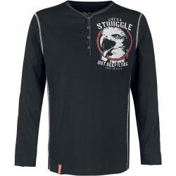 Pánské Košile Black Premium by EMP v černé barvě s dlouhým rukávem s výstřihem do V ve slevě