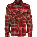 Pánské Košile Brandit v červené barvě ve streetwear stylu s kulatým výstřihem plus size