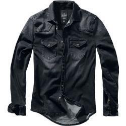 Pánské Košile Brandit v černé barvě ve streetwear stylu s vysokým krkem