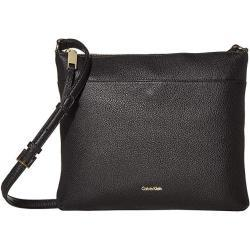 Calvin Klein Lily Key Item Pebble Leather Large Crossbody Black