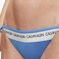 CALVIN KLEIN Modrý dolní díl plavek Fix Triangle-RP CK logo – M