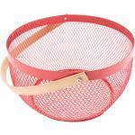 Červená drátěná mísa na ovoce s dřevěným uchem 162151