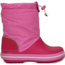 Dětské Kozačky Crocs Crocband v růžové barvě na suchý zip protiskluzové na zimu