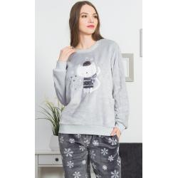 Dámské pyžamo dlouhé Kočka se šálou šedá 2XL