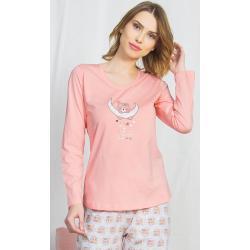 Dámské pyžamo dlouhé Méďa na měsíci azurová XL