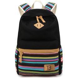 Dámský městský batoh Canvas TopBags Colorful stripes - Black 18 l