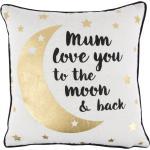Dekorativní polštář s nápisem Mum love you to the moon and back 40x40