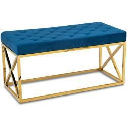 DekorStyle Prošívaný taburet NELJA námořnická modř/zlatý