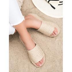 Dámské Pantofle na klínku v hnědé barvě
