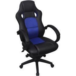 Ředitelské kancelářské křeslo v závodním stylu | modrá koženka