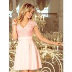Elegantní dámské šaty 242-1 pastelově růžové