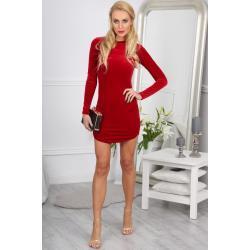 Elegantní, sexy, mini červené šaty s dlouhými rukávy: L