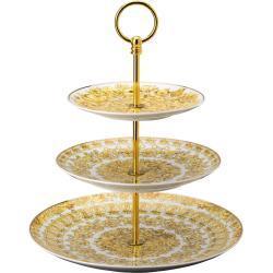 Etažér porcelánový, 3 patra, Rosenthal Versace Medusa Rhapsody
