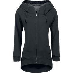 Dámské Mikiny s kapucí v černé barvě ve streetwear stylu s kulatým výstřihem