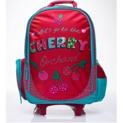 FPrice Červený školní batoh na kolečkách, kufr s třešněmi ONE SIZE