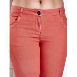 FPrice Dámské korálové strečové kalhoty s diagonálním prošíváním PLUS SIZE 38