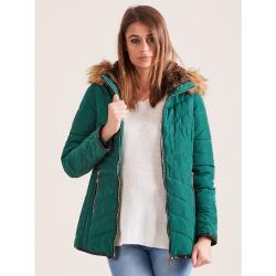Green quilted winter jacket with fur hood