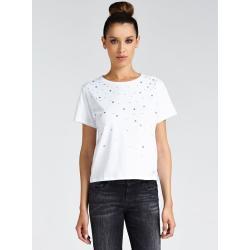 GUESS dámské bílé tričko s kamínky