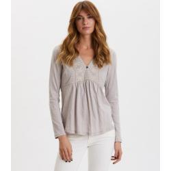 Dámské Košile ODD MOLLY v šedé barvě v elegantním stylu s dlouhým rukávem s výstřihem do V