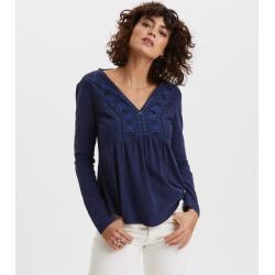 Dámská  Trička ODD MOLLY v modré barvě v elegantním stylu s dlouhým rukávem s výstřihem do V