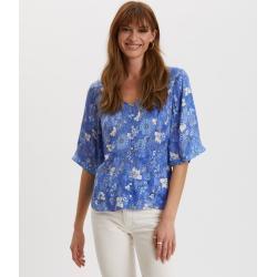 Dámská  Pyžama ODD MOLLY v modré barvě v ležérním stylu s krátkým rukávem s výstřihem do V na léto