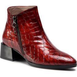 Dámské Kotníkové boty Hispanitas v červené barvě v lakovaném stylu s výškou podpatku 3 cm - 5 cm