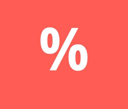 symbol % na červeném pozadí