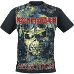 Pánská  Trička s krátkým rukávem v černé barvě s krátkým rukávem s kulatým výstřihem s motivem Iron Maiden plus size
