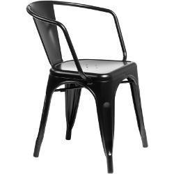 Jídelní židle Paris Arms inspirovaná Tolix černá