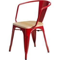 Jídelní židle Paris Arms Wood borovice přírodní červená