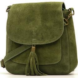 Kožená kabelka Lanira olivově zelená