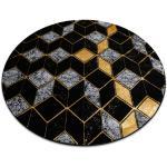 Kulatý koberec GLOSS moderni 400B 86 stylový, glamour, art deco, 3D geometrický černý / zlato kruh 120 cm