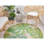 Kulatý koberec s listy monstery ⌀ 140 cm béžovo zelený BAYAT