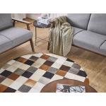 Kulatý kožený patchworkový koberec ø 140 cm vícebarevný SOKE