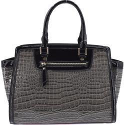 Luxusní dámská lakovaná kabelka - šedá