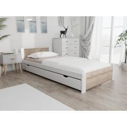 Postele maxi-drew v bílé barvě v moderním stylu z dubu s úložným prostorem lakované