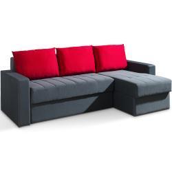 MEBLINE Čalouněná rohová sedačka INEZA šedá + červená