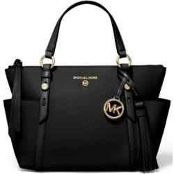 Michael Kors Nomad Small Convertible Top Zip Leather Tote Black