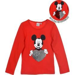 Dětská trička v červené barvě s motivem Mickey Mouse a přátelé Mickey Mouse s motivem myš s flitry