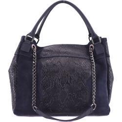 Moderní dámská kožená kabelka Arteddy s hadím vzorem - tmavě modrá