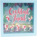 Modrá pokladnička s nápisem Cocktail Fund
