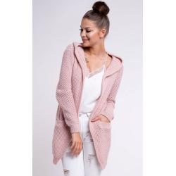Nádherný pletený kardigan FLORA pudrově růžový