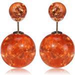 Náušnice Double Bead - Oranžová krišťálová KP795