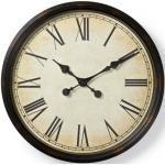 Nedis Kulaté nástěnné retro hodiny, černé, průměr 50 cm
